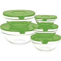 Set di ciotole di vetro per conservare l insalata con coperchio rosso d11fdb02b4f1