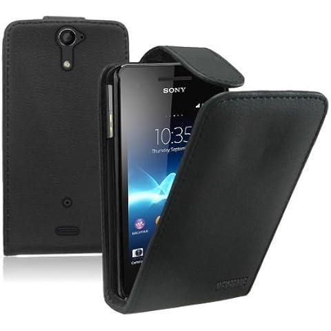Membrane - Negro Funda Carcasa para Sony Xperia V (LT25i / Xperia AX) - Flip Case Cover + 2 Protectores de Pantalla