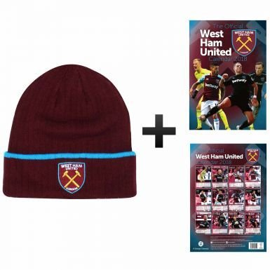 Official West Ham United 2018 Calendar   Bronx Hat Gift Set 1cd6addbe622