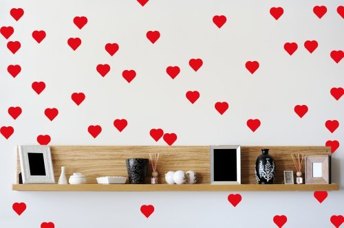 45 Red Love Hearts Wall Art Vinyl Stickers 30mm x 30mm by Stickers on Your (Vinyl Artigianato Segni)