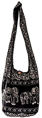 BAG SHOPPING COTTON Shoulder Cross body Bohemian Gypsy Festival Boho Printed YAM BIG (Black ELEPHANT)