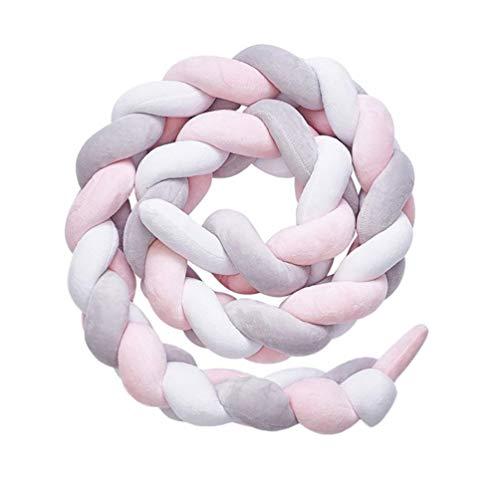 Paracolpi Lettino Neonato Paracolpi Culla Lunghezza 2m Cuscino Intrecciato Paracolpi Testa, Migliori Regali per Neonato (Grigio + bianco + rosa)