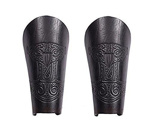Battle-Merchant Armstulpe aus Leder mit geprägtem Thorshammer, schwarz - Armschützer LARP Mittelalter Wikinger Größe Paar -