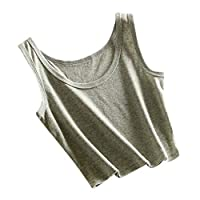 Women Sleeveless Casual Tank Tops ❀ Ladies O-neck Solid Fashion Vest Blouse Short Cami Vest Crop T-shirt Top Beach Summer Tank