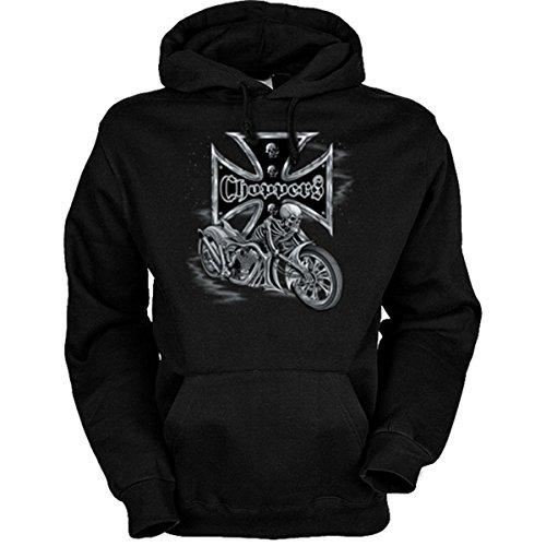 Motorrad-Driver Sweatshirt mit Kapuze, Motiv: Bikers Cross - Choppers (Größe: L) Farbe schwarz