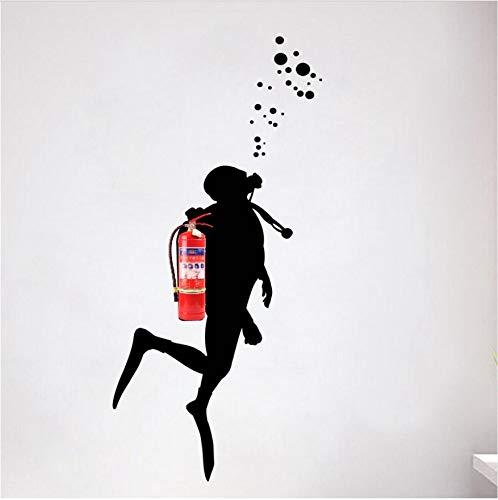 Wandaufkleber Feuer Taucher Wandkunst Aufkleber Für Büro Dekoration Feuerlöscher Verkleidung Pvc Büro Wandbild Kunstwanddekor 103X42 Cm