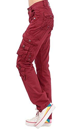 Brinny Damen Kampf lässig Fracht Multi-Tasche Baumwolle Militär Hose  Baumwolle Stoffhose Cargohose Oversize Rot 1444a48e99