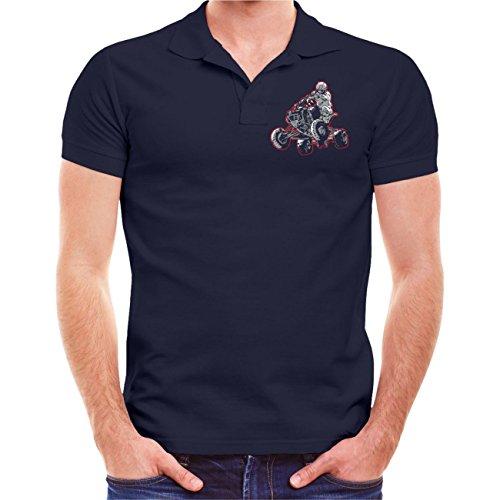 Männer und Herren POLO Shirt Adrenalin Hunter - Angst ist keine Option (mit Rückenduck) Größe S - 10XL Dunkelblau