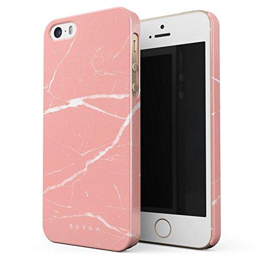 iPhone 5 / 5s / SE Hülle, BURGA Pfirsich Marmor Pink Rosa Licht Farbig Bunt Marble Dünn, Robuste Rückschale aus Kunststoff Für iPhone 5 / 5s / SE Handyhülle Schutz Case Cover (Coral Farbige Taste)
