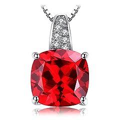 Idea Regalo - JewelryPalace Donna Gioiello Cuscino 4.9ct Creato Rosso Scuro Rubino Argento Sterling 925 Ciondolo Solitario Collana con Pendente 45cm