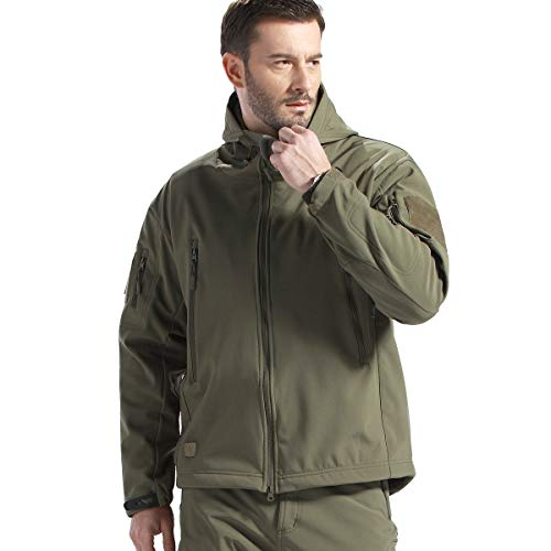 FREE SOLDIER Herren Jacken Outdoor Wasserdicht Softshell-Kapuze Taktische Jacke, Herren, Armee-grün, XXX-Large Athletic Works-jacke