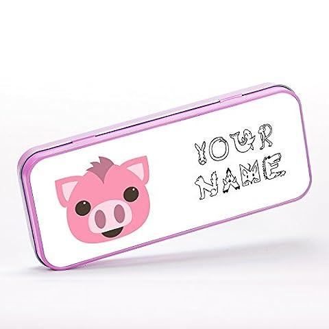 Personalised Pig Piggy Cute Farm Animal Children Customizable Schreibwaren-Metalldose - pink