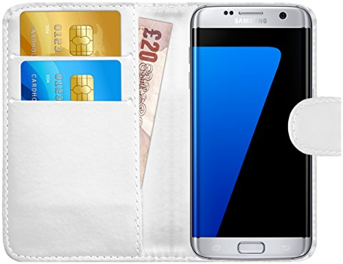 GizzmoHeaven Samsung Galaxy S7 Edge Leder Hülle Schutzhülle Tasche mit Karte Halter Klappetui Flip Case Cover Etui Brieftasche für Samsung Galaxy S7 Edge SM-G935F mit Displayschutzfolie und Stylus-Stift - Weiß