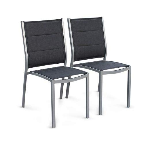 Alice's Garden Lot de 2 chaises - Chicago/Odenton - Aluminium et textilène Gris