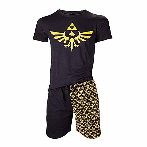 NINTENDO Legend of Zelda Shortama Nightwear Set (Medium, Black/Gold)