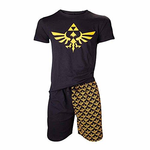 NINTENDO Legend of Zelda Shortama ropa de dormir Set (Grande, Negro /