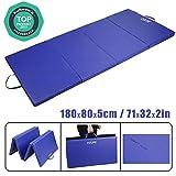 CCLIFE 180x80x5cm,Tappetino Tri-Pieghevole da Ginnastica, Allenamento,Fitness e Yoga, Colore:Blu