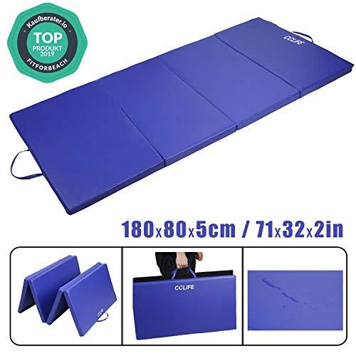 CCLIFE 180x80x5cm Bleu Tapis de Gymnastique Epais - Matelas Gymnastique - Tapis Sol Gymnastique - Tapis Gymnastique Pliable, Couleur:Bleu