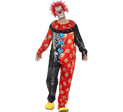 Smiffys Herren Deluxe Tag der Toten Clown Kostüm, Jumpsuit und Maske, Größe: L, - Jumpsuit Deluxe Kostüm
