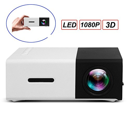 LED Projektor, SUAVER 1080P Full HD Mini Cinema Beamer Tragbar LCD Projektor Heimkino Theater mit USB / SD / AV / HDMI, Pocket Projektor für Video / Film / Spiele (Schwarz)