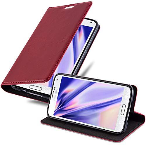 Cadorabo Hülle für Samsung Galaxy S5 / S5 NEO - Hülle in Apfel ROT - Handyhülle mit Magnetverschluss, Standfunktion und Kartenfach - Case Cover Schutzhülle Etui Tasche Book Klapp Style