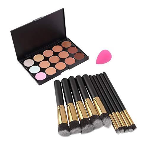 Pudincoco Palette Correcteur 15 Couleurs + 20pcs Pinceaux Maquillage pour les Outils Outils + Éponge Palette Contour Du Maquillage Puff Paleta De Corretivo Facial (black)