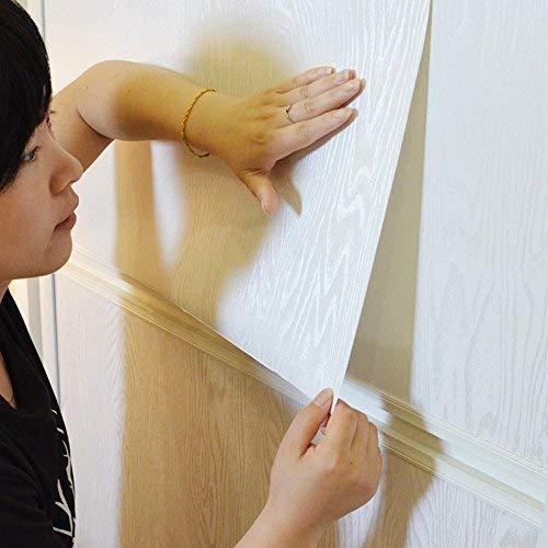 (Selbstklebendes Vinyl weiß Holz dick Kontakt Papier für Küche Schränke Tisch Schrank Regalen Arbeitsfläche Schreibtisch Kommode Möbel Kunst und Handwerk Projekt 60 cm x 2 m)