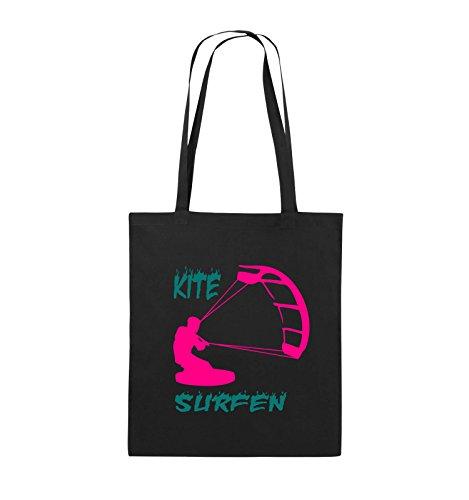 Comedy Bags - Kite Surfen - Motiv 3 - Jutebeutel - Lange Henkel - 38x42cm - Farbe: Schwarz/Pink-Türkis