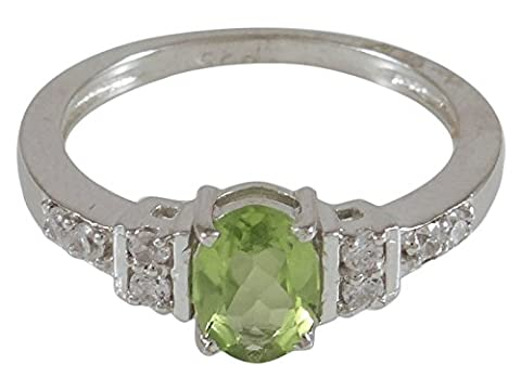 Banithani 925 Sterling Silver Peridot Stone Indian Fashion Elegant Finger Ring Jewellery