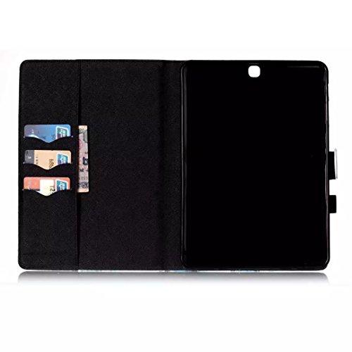Vandot Smart Housse Case Coque étui pour Samsung Galaxy Tab S2 9.7 Pouces SM-T810 T815 Tablette Coque avec Support et fermeture magnétique et Carte Slots Ultra Slim Léger Smart Cover Case Flip étui en Tablet-Motif-6