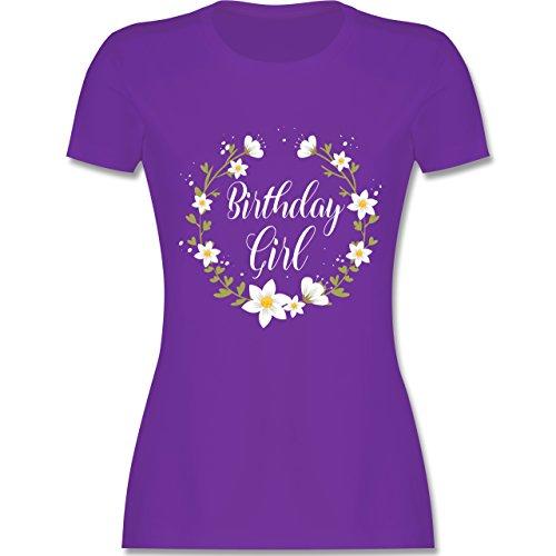 Shirtracer Geburtstag - Birthday Girl Flowers - Damen T-Shirt Rundhals Lila