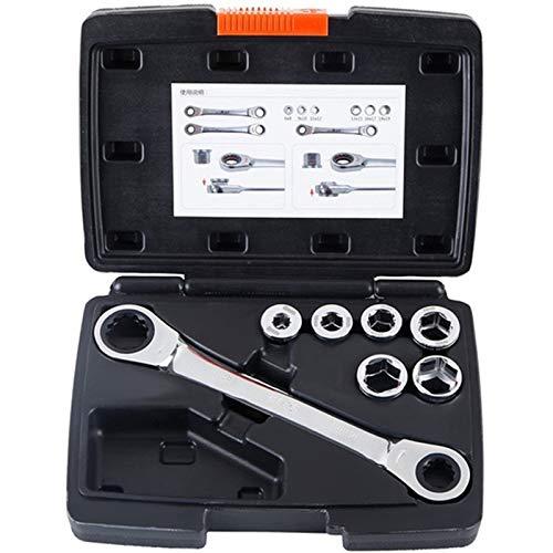 TOOGOO 12 In 1 Ratsche Steck Schlüssel Set 6-19 Mm Sechskant Doppel Kopf Steck Schlüssel 40Cr-V Metrisch Auto Reparatur Werkzeug 7 Stücke -