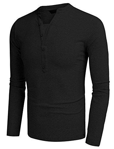 Burlady Shirt Herren Langärmelig Patchwork Rundhals Shaped Oberteile Slim  Fit Einfarbig Casual Sweatshirt Schwarz A
