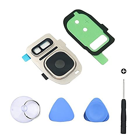 Cemobile Back Camera Glass Lens Cover + Rear Camera Bezel with Adhesive + Flash Cover Pre-installed Replacement Parts + Repair Tool Kit for Samsung Galaxy S7 / S7 Edge