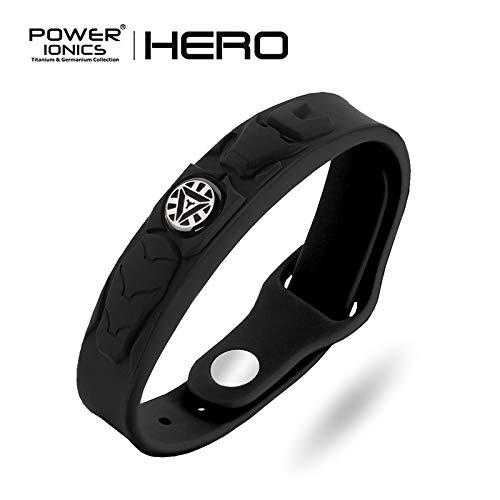 Power Ionics Energiearmband Superhelden Edition | 4-in-1 Ionenarmband 3000 cc Negative Ionen | Superhero Powerarmband | Gesundheitsarmband mit Bio Silikon Armband | Modell PT066-HERO (Ironman Black)