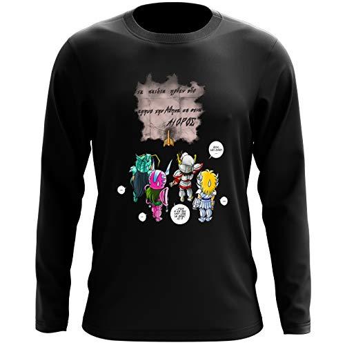 T-Shirts à manches longues Saint Seiya - Les Chevaliers du zodiaque parodique Seiya, Shiryu, Hyoga et Shun dans la maison d'Aioros : 4 touristes japonais perdus en Grèce... (Parodie Saint Seiya - Les