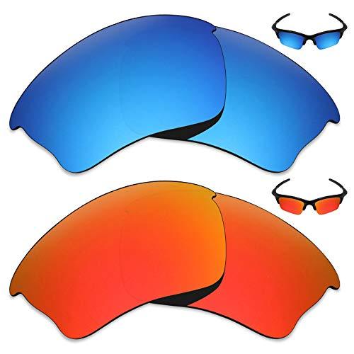 MRY 2Paar Polarisierte Ersatz Gläser für Oakley Half Jacket Xlj Sonnenbrille-Reiche Option Farben, Ice Blue & Fire Red