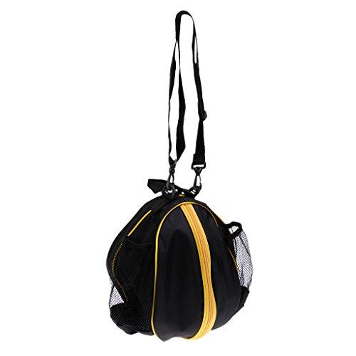 MagiDeal Wasserdichter Basketball Tragetasche mit Verstellbarer Schulterriemen - Umhängetasche und Handtasche, Balltasche Ballsack für Volleyball Fußball usw. Teamsport Sporttasche - Schwarz-Gelb