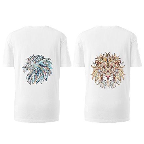 Creativo 3D animali adesivi trasferimento,calore toppe Adesivo trasferimento elegante, 2pcs materiale Iron-on patch eco-compatibili Vestiti abbigliamento t-shirt 3D (2# Gold Lion + Blue Tiger)