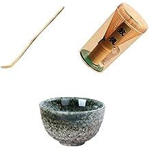 Fenteer Juego de Regalo de Té Verde Matcha - Batido de Bambú y Cucharada de Bambú Verde Japonés