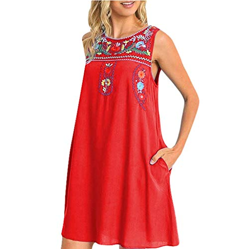 Kleider Damen Sommer,Party Kleid Für Damen Summer Women 'S Fashion Casual Sleeveless Vintage Embroidery Mini Dressvon Evansamp(rot,M) -