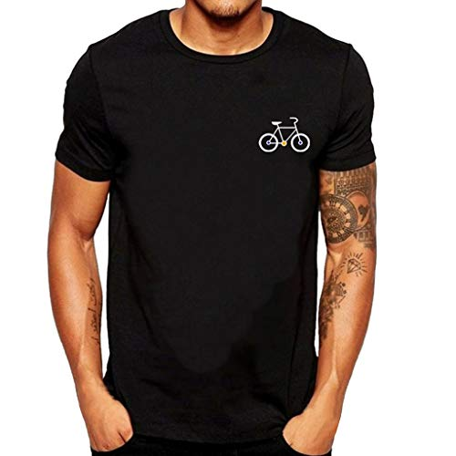 Manga Corta Camiseta Hombres Nuevo Verano Dibujos Animados Bicicleta Patrones Impresos Blusa Superior Tops