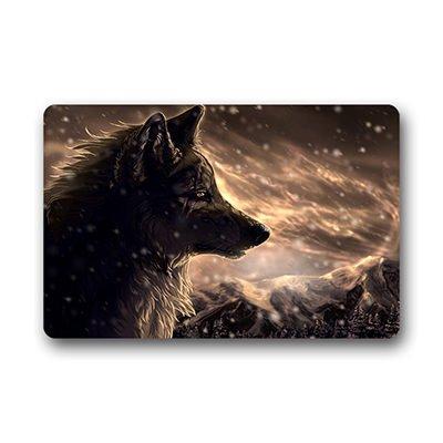 "Personal Custom lupo, animale dipinto Zerbino Personalizzato Doormat 18""x30"" about 46cmx76cm"