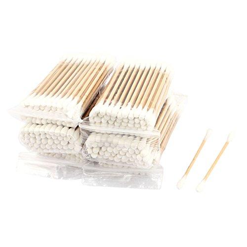 sourcingmap Coton-tige tige bois fin Double Picks oreille cérumen cosmétique Outil dépose 1200pcs