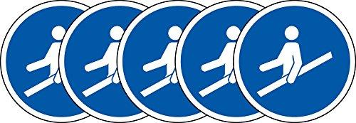 ISO Hinweisschild–International Verwendung Handlauf Symbol–Sticker Selbstklebend 50mm Durchmesser (5Stück Aufkleber)