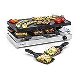 Klarstein Gourmette • Raclette • Raclette con Piastra Grill in Alluminio • Grill per Raclette • 8 Persone • 1200 Watt • Termostato • Acciaio • Argento