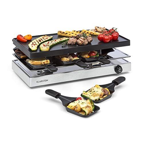 Klarstein Gourmette Raclette con Plancha de Aluminio • Raclette-Barbacoa • Fiestas de Barbacoa • 8 Personas • 1200 W • Termostato • Regulable • Carcasa de Acero • 3 Pisos • Accesorios