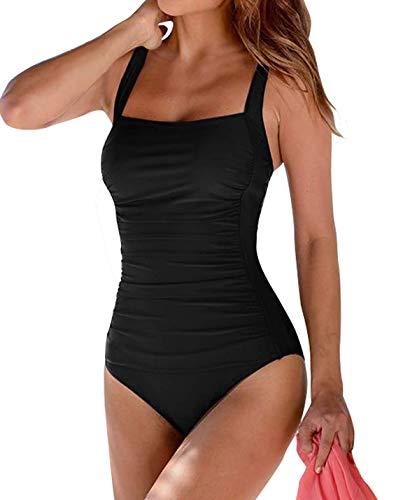 Leslady Banadores Mujer Reductores Mujer Color sólido Traje de baño Bandeau Monokini Body Shaping...