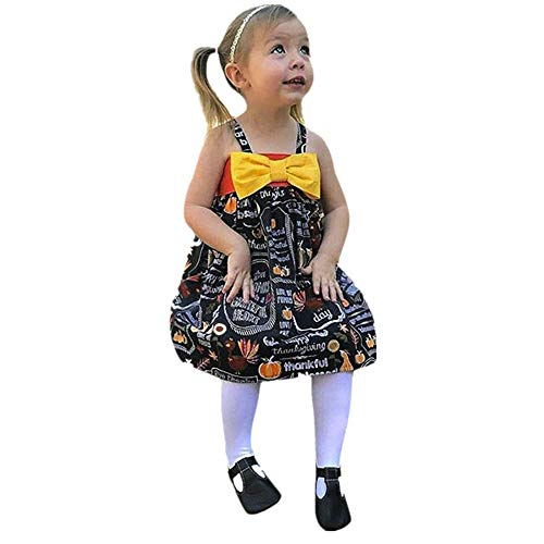 SEWORLD Baby Halloween Kleidung,Niedlich Infant Kleinkind Baby Mädchen Kürbis Bogen Party Kleid Halloween Kleidung Kleider 24 Monate