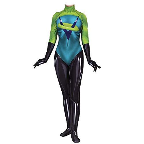 JUFENG Superman - Allgemeine Mobilisierung Frauen Erwachsene Halloween Kostüm Maskerade Kostüm Party Filmrequisiten,Green-Woman/XXXXL